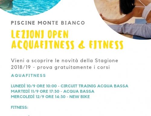 Lezioni Open Acquafitness & Fitness – Settembre
