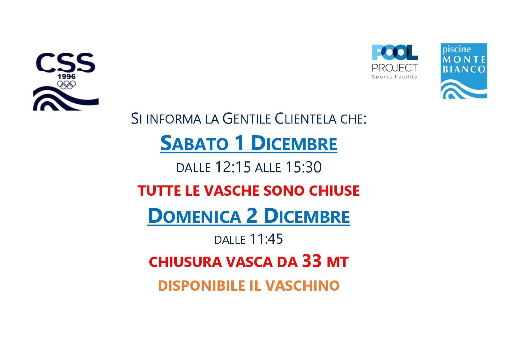 variazione orario apertura vasche 1 e 2 dicembre