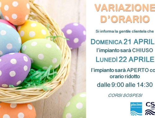 Variazione Orario Pasqua